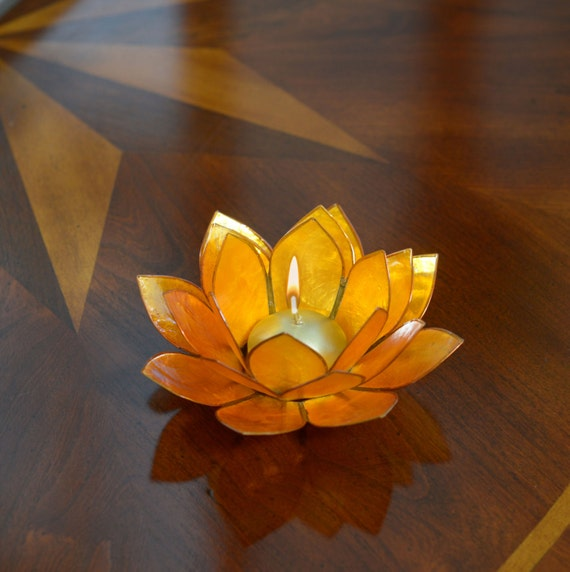 Yellow Lotus Flower Capiz Shell Candle Holder - A Real Jewel of a Gift and Keepsake