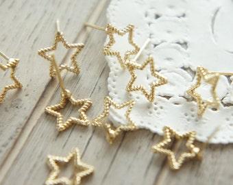 2 pairs Open Back Bezel Earrings / Star (10mm) AZ389