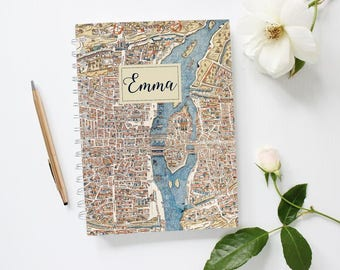 Personalized Notebook Cover, Personalized Paris Notebook, Vintage Paris Map Notebook, Retro Paris Map Notebook, Paris Gift, LINED Spiral