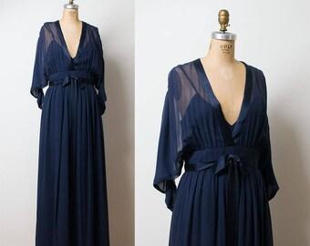 1970s Bill Blass Gown / 70s Chiffon Evening Gown