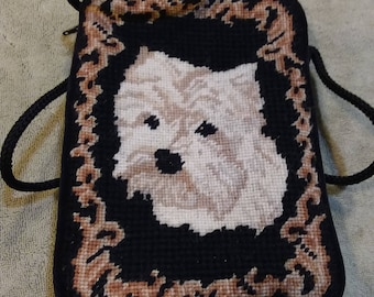 Vintage Needlepoint Cross Body Handbag with Westie, Scottie, West Highland Terrier Made in China