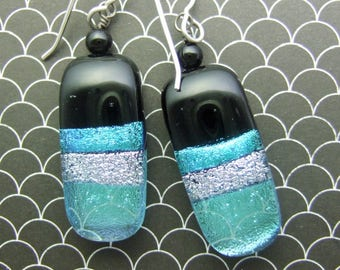 Aqua Ribbons Dichroic Earrings, Fused Glass Jewelry Handmade in North Carolina