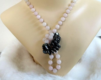 Long Polished Pastel Rose Quartz & Hematite Beads Necklace Vintage