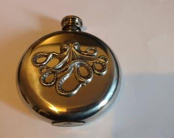 Release the Kraken  Octopus 5 oz Liquor Flask Stainless Steel Victorian Gothic Hip flask.