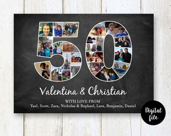 50th anniversary photo collage sign - Gift for wife husband parents best friend mother dad - 50 years of marriage chalkboard - DIGITAL FILE!