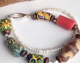 African Trade Bracelet, Tribal Bracelet, Colorful Bracelet, Freshwater Pearl Bracelet, Double Strand Bracelet, Bohemian