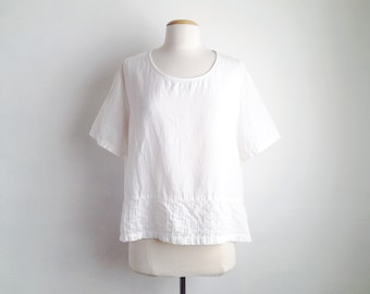 white linen tops vintage simple linen top oversized boxy tops womens linen clothing short sleeve summer loose fit tops