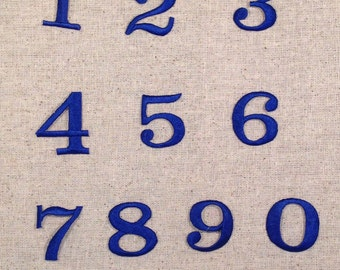 Numbers - 1.25 Inch - Royal Blue - Block Style - Iron on Applique - Embroidered Patch