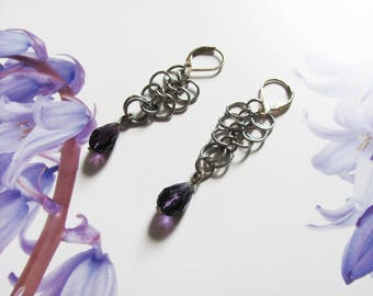 amethyst and silver Chainmail earings