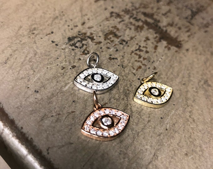 XL Diamond Evil Eye Pendant in 14k Gold