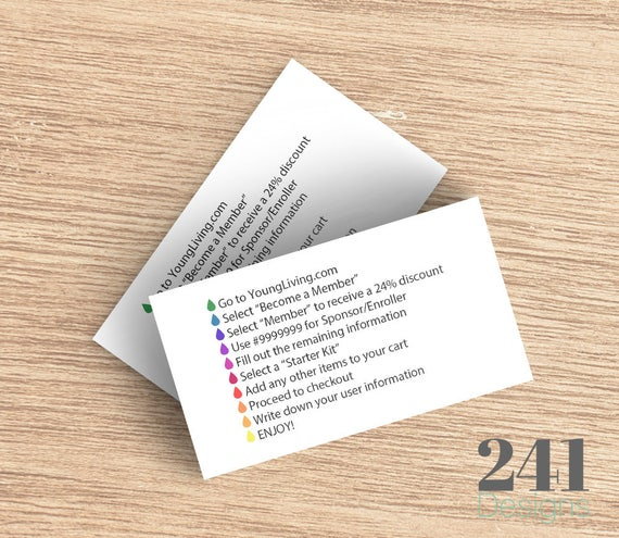 Young Living Essential Oils Business Card BACK Digital