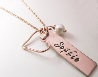 Mother's Necklace - Rose Gold Bar Necklace - Name Necklace - Bridesmaid Necklace - Rose Gold Filled