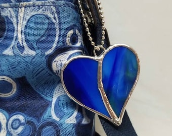 Stained glass purse charm heart