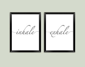 INHALE EXHALE PRINTS: Black and White Breathe Typography Art Posters