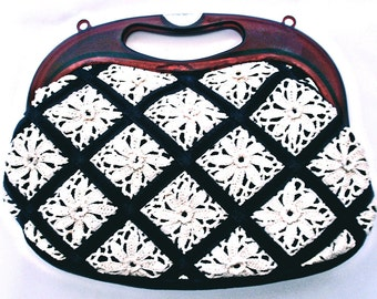 VTG- Gorgeous, 1970s, Black and off-white, Crochet, Doily, Handbag with Acrylic Amber handle, and Crochet florets, Medium, Convertible