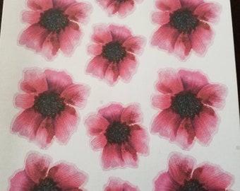 Pink poppy stickers