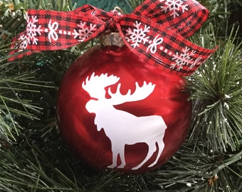 Moose Christmas Ornament - Personalized Moose Silhouette Christmas Ornament