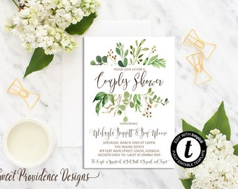 Greenery Couple Shower, Couples Shower Invitation, Botanical Couples Shower, Printable Invitation, Editable Invitation, Instant Download