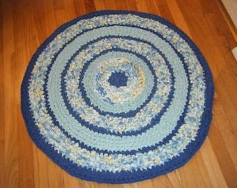 Beautiful Blue Fabric Rug\Blue Rag Rug\Blue Rug