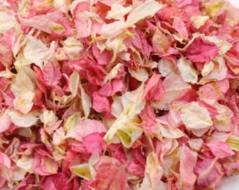 One litre of delphinium petasl natural dried wedding confetti biodegradable (10 small handfuls) ivory and pinks