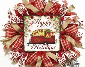 Christmas Wreath, Rustic Christmas Wreath, Christmas Camper Wreath, Happy Holidays Wreath, Best Door Wreath, Holiday Wreath, Wreath, Camping