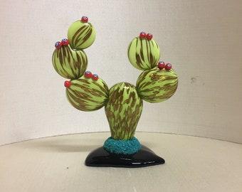 Murano Glass Cactus-Murano crystal cactus-oily glass plant with murrine-Murano glass fat plant-aventurine