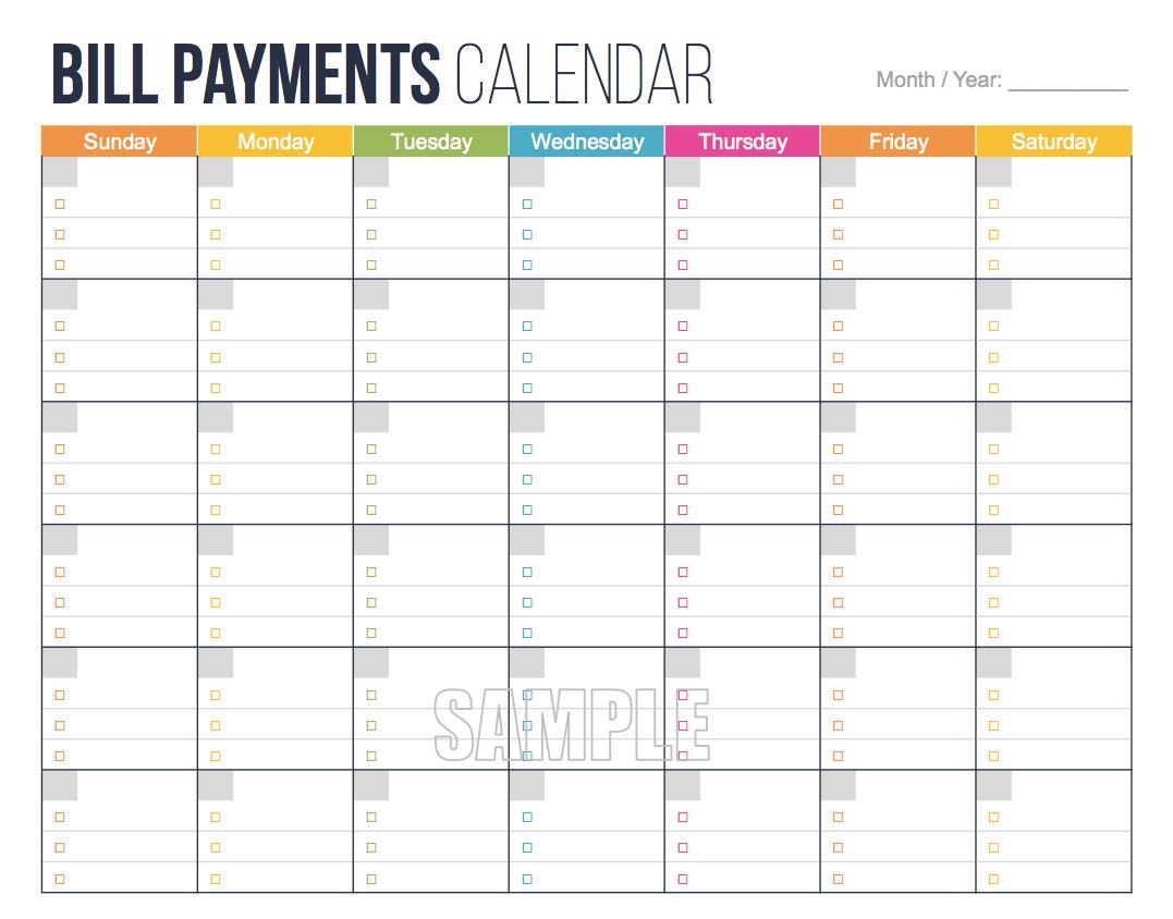 bill payments calendar editable personal finance. Black Bedroom Furniture Sets. Home Design Ideas