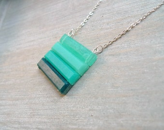 Ombre pendant necklace, ombre green necklace, Geometric striped necklace
