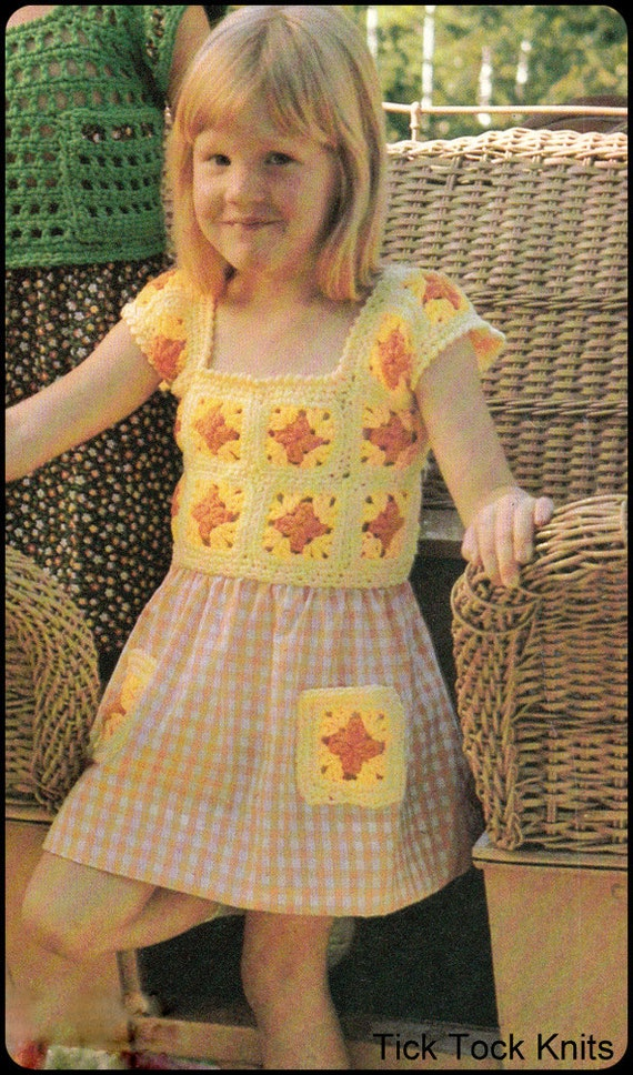 No.233 PDF Vintage Crochet Muster Kindes Oma Platz Kleid