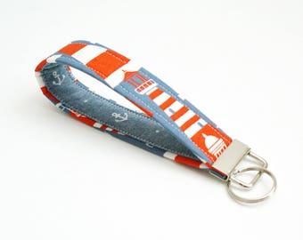 Lighthouse and Anchors Key Fob - 5 Inch Key Ring Wristlet - Loop Keyring - Cute Key Strap - Short Nautical Wrist Lanyard - Blue, Red, White