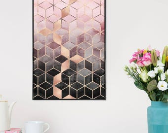 "Geometric Poster - ""Pink Grey Gradient Cubes"" at JUNIQE - Artist: Elisabeth Fredriksson"