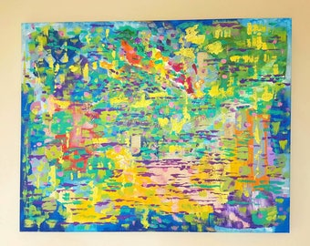 "22"" x 28"" Colourful Abstract Acrylic Painting on Canvas (Original Work)"