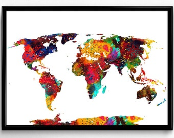 Colorful Map of The World, Earth Poster, Nature, Decorative Geograpy,Poster, Room Decor, gift, print, wall art (23)
