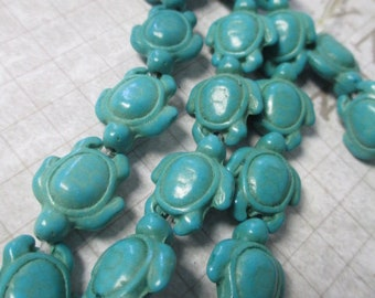 TURTLE BLUE TURQUOISE 69 Beads Thick Howlite Magnesite Carved Tortoise - 14mm X 18mm -  Wholesale 3 Strands