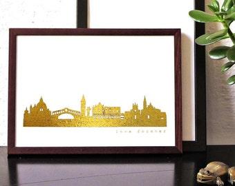 Gold VENICE artwork, Venezia art print, gold Venice skyline poster, Venice wall art, Venice print, Venice Gift, Birthday, Decor, Modern, Art