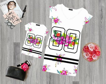 Mother and Daughter matching Dress Flowers Football 80  mommy and me Outfits.Mother daughter First Fashion Flowers