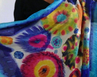 Hand painted silk scarf flowers, silk colorful shawl Halle Design