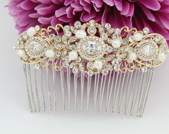 Wedding hair comb Gold Bridal hair accessory Wedding headpiece Bridal hair jewelry Wedding hair accessory Bridal comb Wedding hair piece