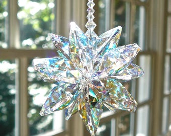 "Large Crystal Cluster Suncatcher, Swarovski Aurora Borealis Window Ornament, Window Hanger, Rainbow Maker, Prism - ""STELLA GRANDE AB"""