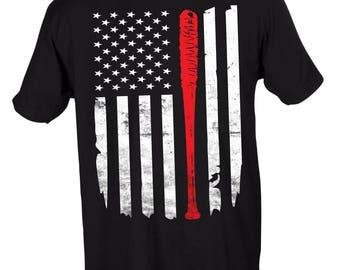 Negan's Bat Lucille Flag The Walking Dead Crew Neck Tee Black Tee