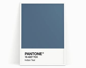 Pantone print, Pantone poster, Pantone Teal, Pantone Blue, Wall art, Wall decor, Printable art, Colorful poster, Color print, Wall hanging