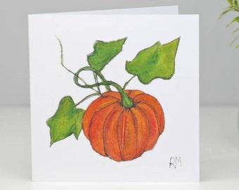 Pumpkin halloween Greetings Card - Card for Pumpkin - Vegetable  card - Blank card - Gardener card - Birthday card Pumpkin - Chefs card -