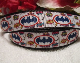 "3 yards 7/8"" of Batman Grosgrain Printed Ribbon"