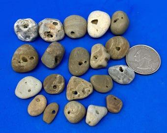 20 Hag stones , holey stones , natural holed stones , stones with holes , Beach Stones