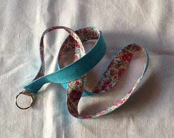 """Long key chain """"Choker"""" Liberty Clarisse pink and turquoise Twill"""