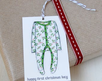First Christmas Personalised Gift Tag - Christmas Gift - New Baby Present - First Christmas Gift - Personalized Festive Baby Tag