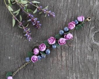 Polymer clay peony and blueberry bracelet,  handmade jewelry,  handmade gifts,  gift idea,  polymer clay bracelet, polymer clay flowers