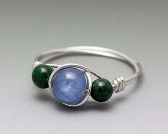 Blue Kyanite & Malachite Sterling Silver Wire Wrapped Gemstone Bead Ring - Made to Order, Ships Fast!