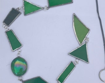 Stained Glass Hanging Bits - green