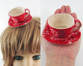 MADE-TO-ORDER ( 1 - 2 Weeks)- Miniature Teacup Hair Slide-Posy Dots on Red